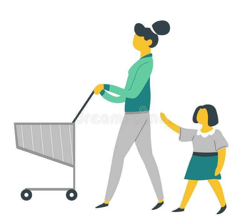 Mother and daughter on shopping with supermarket cart parenthood and child care vector illustration
