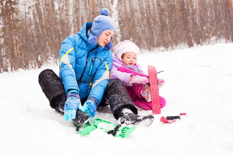 Download Mother and daughter skiing stock photo. Image of joyful - 17592520