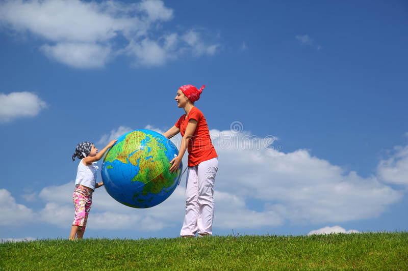 Download Mother With Daughter Stand And Hold Ball Stock Photo - Image: 18361048