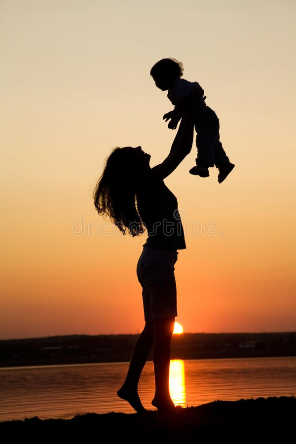Mother And Daughter On Sunset Stock Images