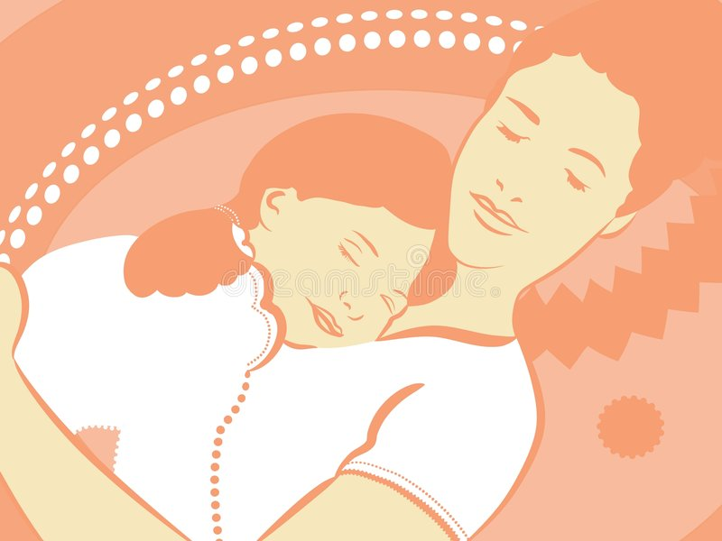 Mother And Daughter To Sleep Stock Photography