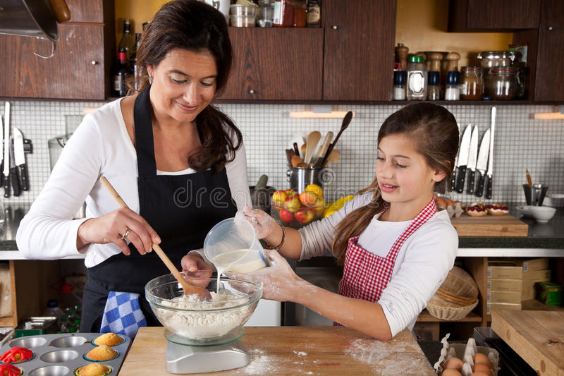 Download Mother And Daughter Together In Kitchen Stock Image - Image: 23416349