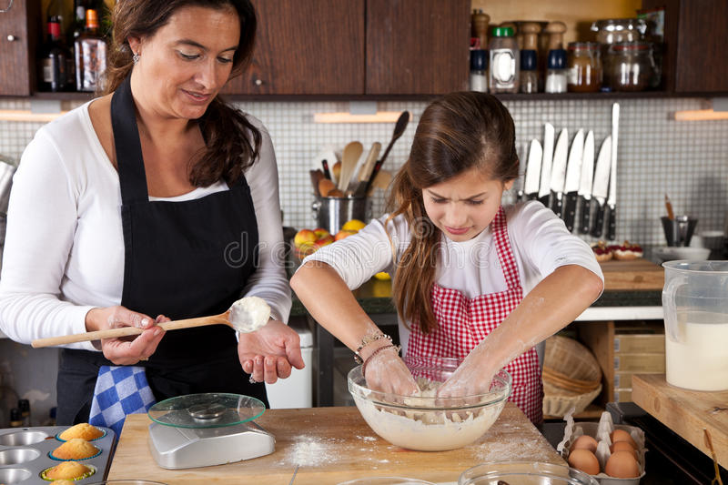 Download Mother And Daughter Together In Kitchen Stock Image - Image of dough, cookies: 23416369