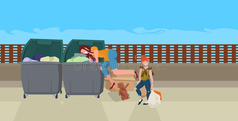 Mother and daughter tramps searching food and clothes in trash can on street beggars family homeless concept horizontal vector illustration