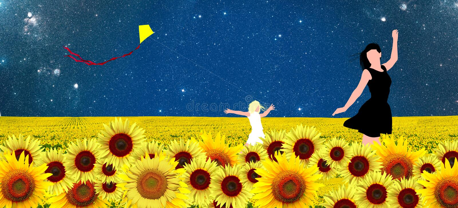 Mother and Daughter walking in a sunflowers field vector illustration