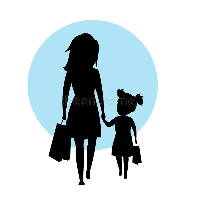 Mother and daughter walking together with shopping bags holding hands silhouette vector illustration. Scene stock illustration