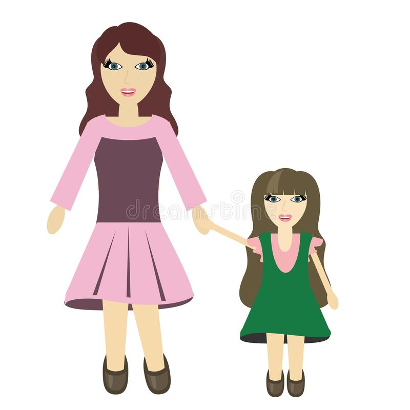 Mother And Daughter On White Royalty Free Stock Images