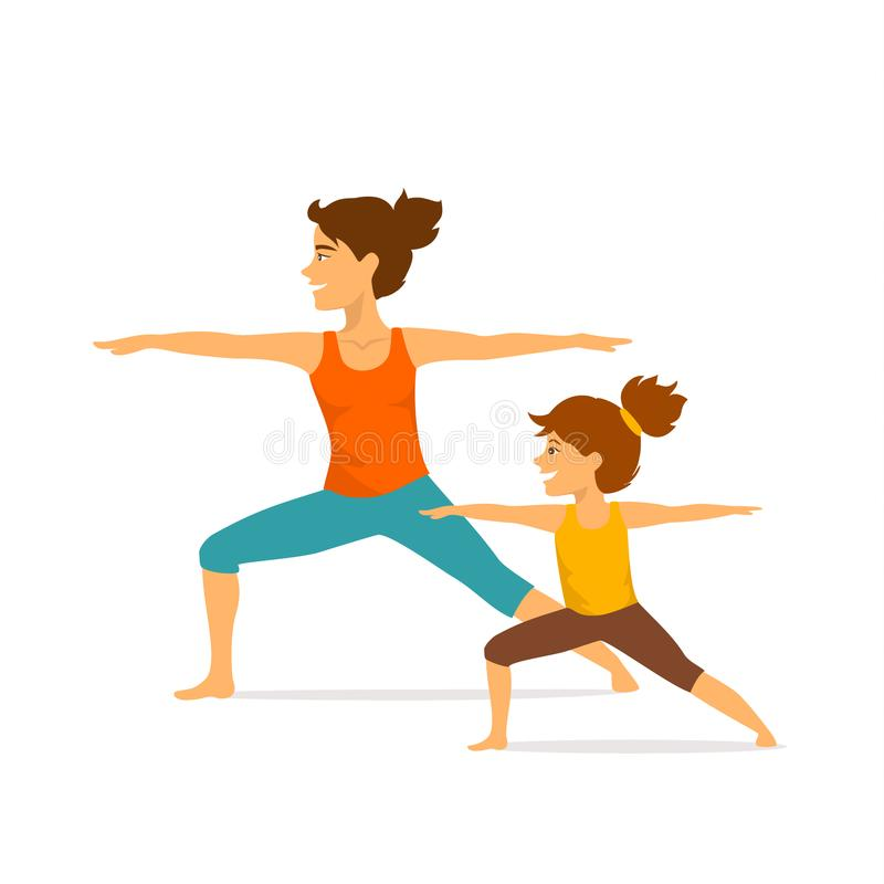 Mother and daughter, woman and girl child doing yoga exercises, standing in warrior two position. Isolated vector illustration sport scene stock illustration