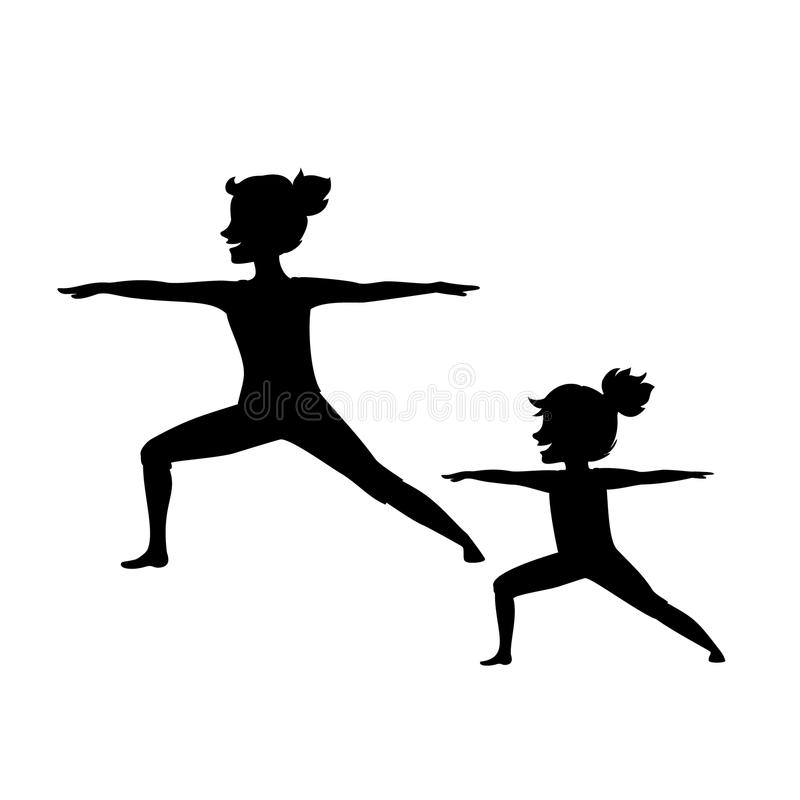 Mother and daughter, woman and girl child doing yoga exercises, standing in warrior two position. Isolated vector illustration sport silhouette scene royalty free illustration