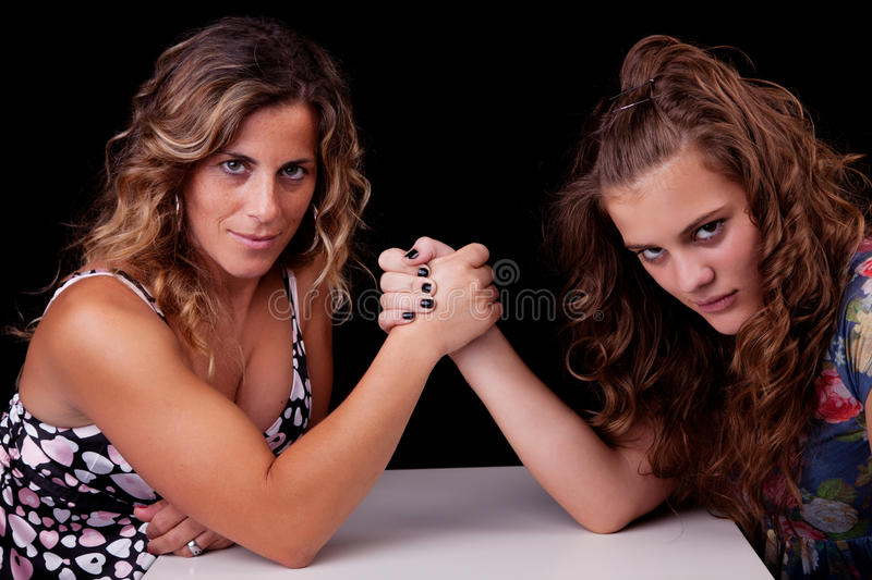 Mother and daughter wrestling,