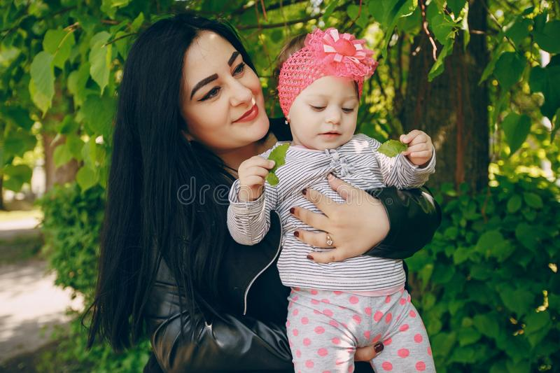 Mother with daughter. Young and beautiful mother with a child in the summer park royalty free stock image