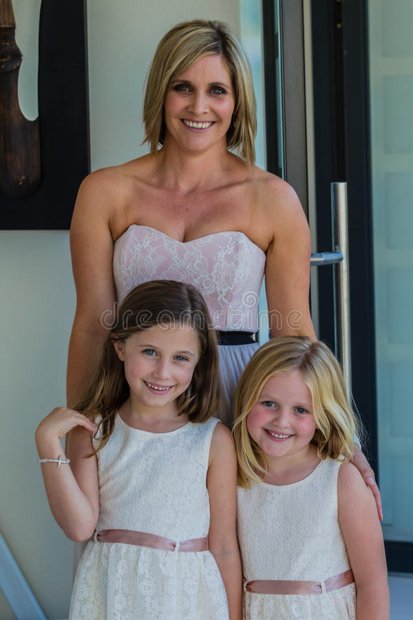 Mother Daughters Wedding Flowers Girls royalty free stock photo