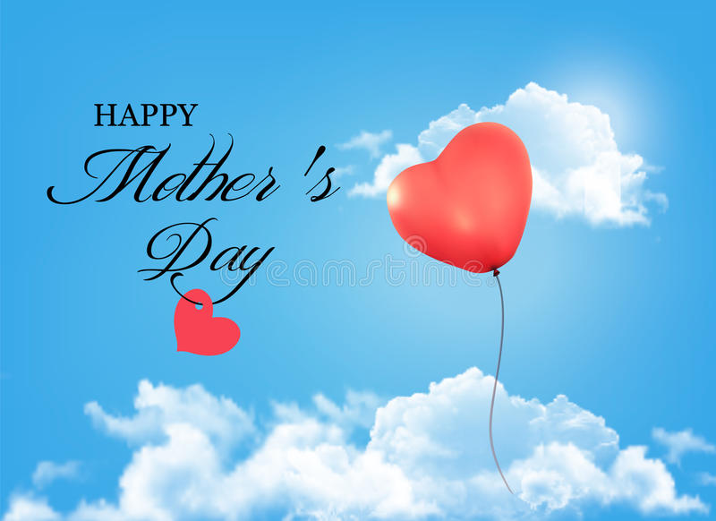 Mother day background. Holiday heart-shaped balloon in a blue sk. Y with clouds. Vector stock illustration