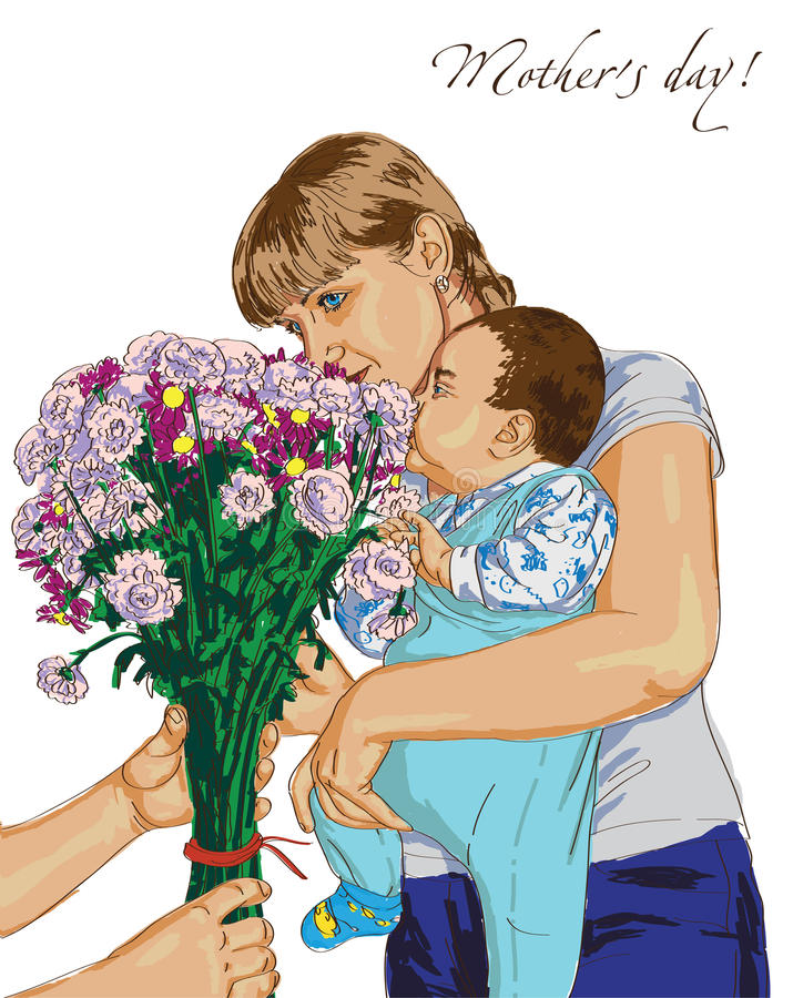 Mother day and bouquet of flowers vector illustration