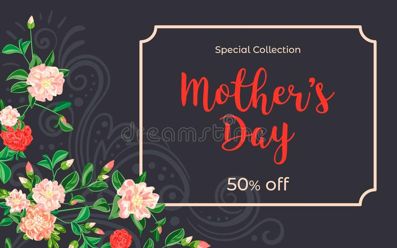 Mother day camellia concept banner, cartoon style vector illustration