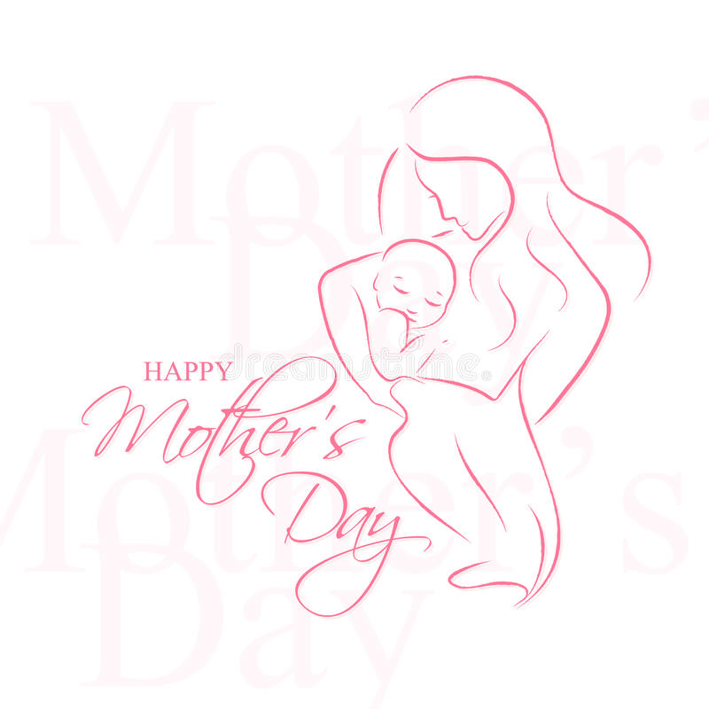 Mother' Day - Elegant vector layout with contoured mother an child silhouette stock illustration