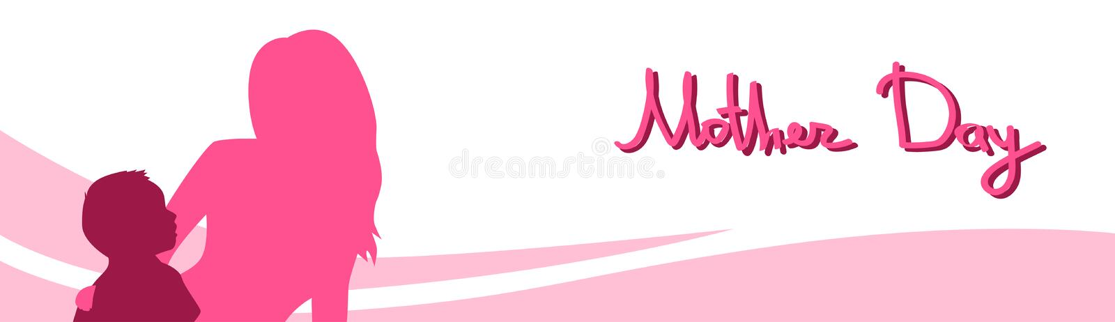 Mother Day, Silhouette Woman Sit Embracing Child, Family Love, Horizontal Banner Abstract Background. Flat Vector Illustration vector illustration