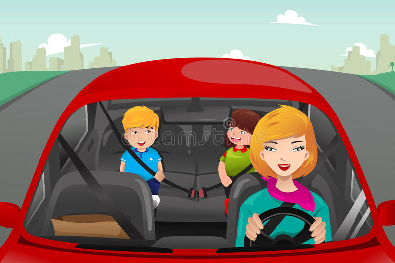 Mother driving with her children vector illustration