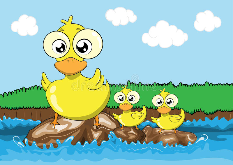Mother duck and her ducklings cartoon royalty free illustration