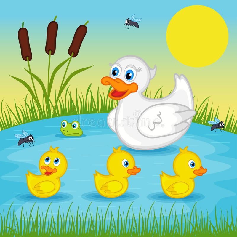 Free Mother Duck With Ducklings On Lake Stock Photos - 54088483
