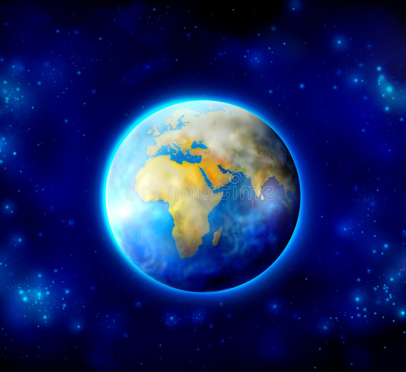 Mother earth. Beautiful illustration of mother earth on dark blue sky full of stars