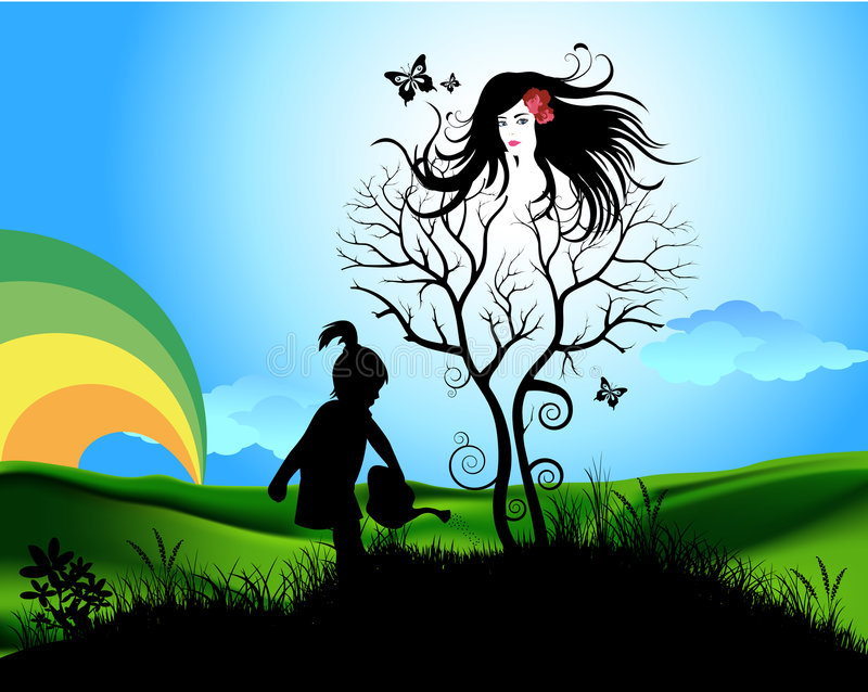 Mother earth. A little girl watering a tree shaped woman. A graphic symbolism of trees as living organisms