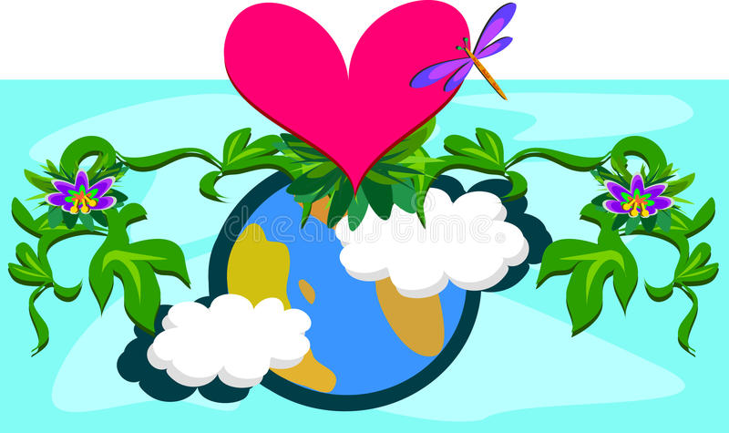 Download Mother Earth With Plants And A Huge Heart Royalty Free Stock Photography - Image: 24971007