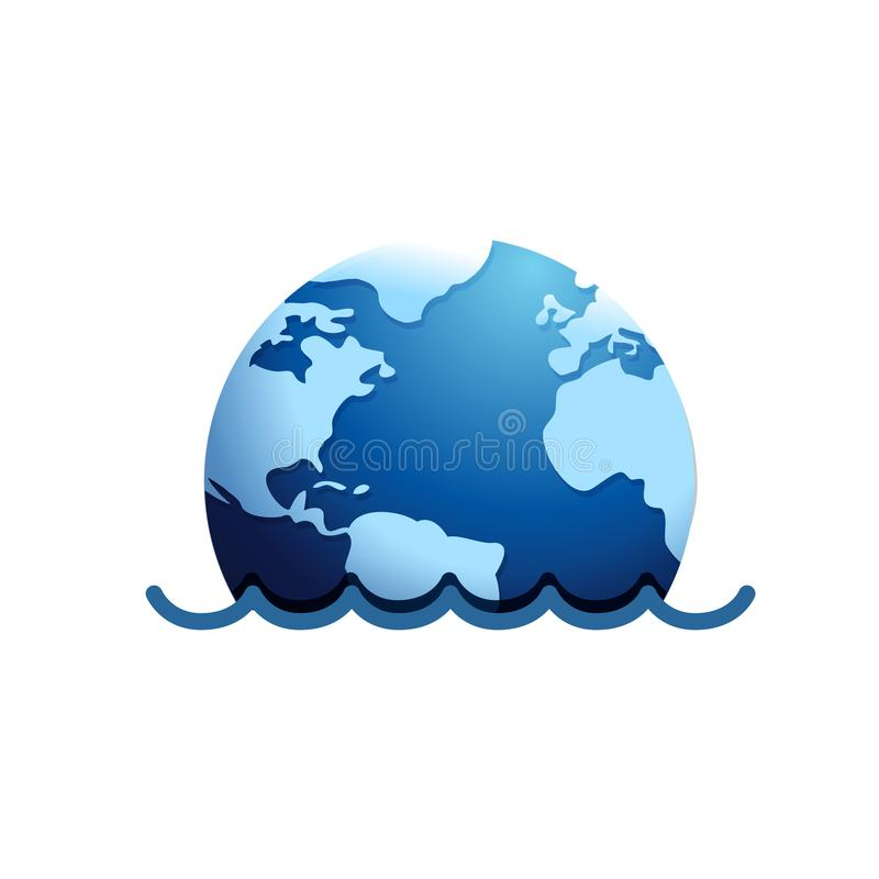 Mother earth submerged under water. Illustration design over a white background royalty free illustration
