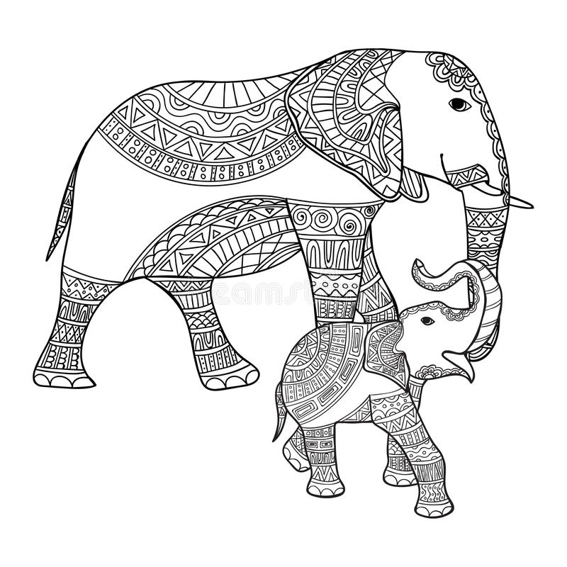 Mother Elephant And Baby Elephant Black And White Doodle