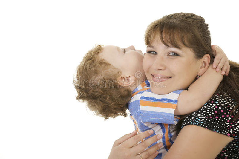 Mother embrace son stock photo