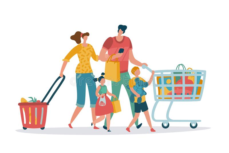 Mother fadern, och dottern gör köp Mammafarsaungar shoppar korgvagnen för att konsumera återförsäljnings- shoppare för tecknad fi vektor illustrationer