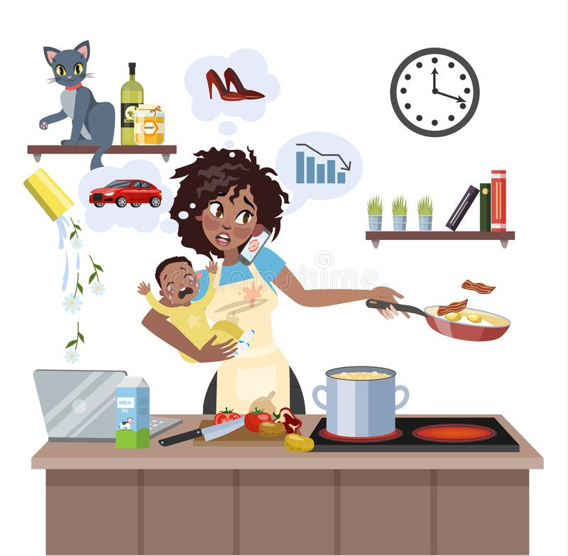 Mother failed at doing many thing at once. Busy multitasking african american mother with baby failed at doing many thing at once. Tired woman in stress with stock illustration