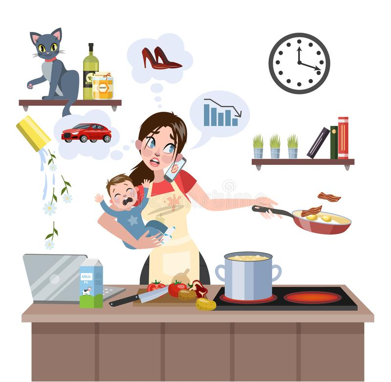 Mother failed at doing many thing at once. Busy multitasking mother with baby failed at doing many thing at once. Tired woman in stress with messy around vector illustration
