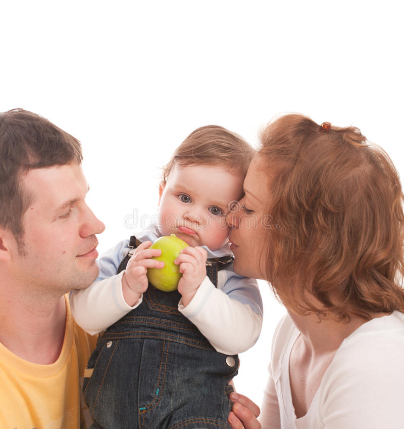Free Mother, Father And Baby With Green Apple Stock Images - 9368764