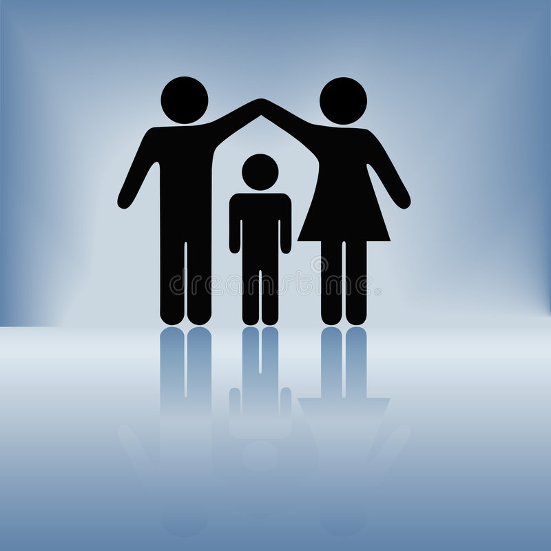 Mother Father Child Family Security Arms Roof vector illustration