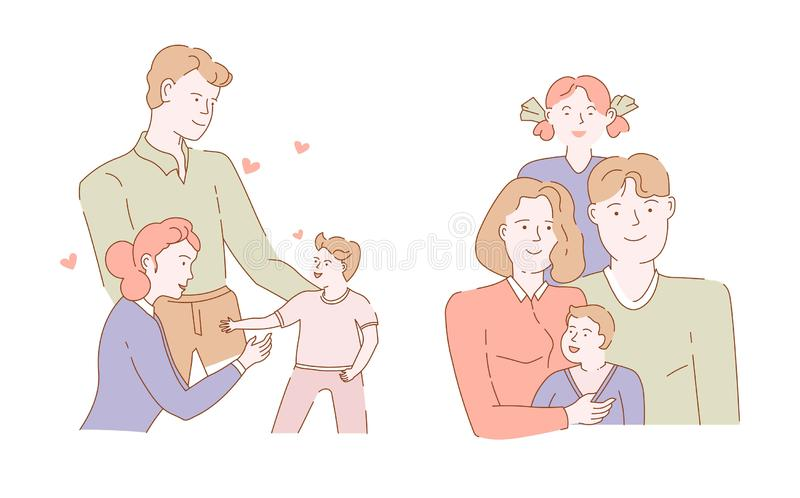 Mother and father children family portrait isolated characters groups. Family mother father son and daughter isolated characters love and care vector man and vector illustration