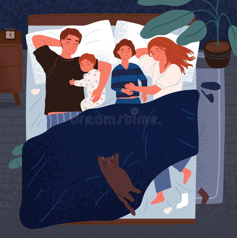 Mother, father and children sleeping together on one bed. Mom, dad and kids embracing each other and slumbering at night vector illustration