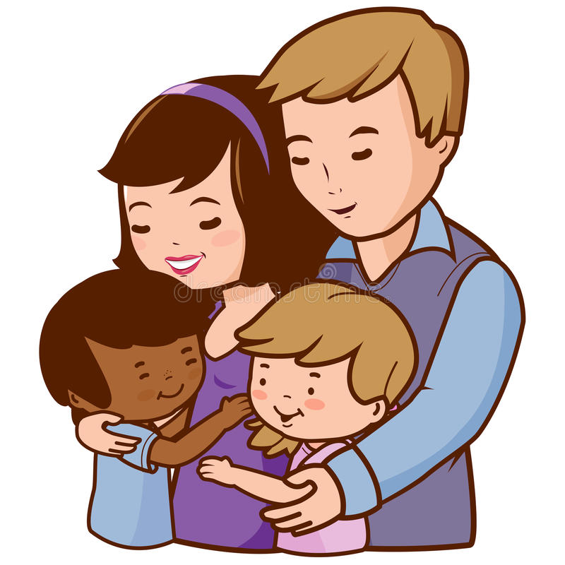 Mother and father hugging their adopted children vector illustration