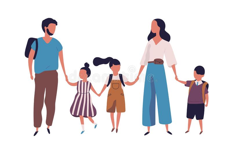 Mother and father leading their children to school. Portrait of modern family walking together. Parents and kids holding vector illustration