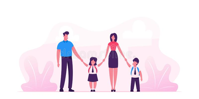 Mother and Father Leading their Children to School. Portrait of Modern Family Walking Together. Parents and Kids. In Students Uniform Holding Hands. Back to stock illustration