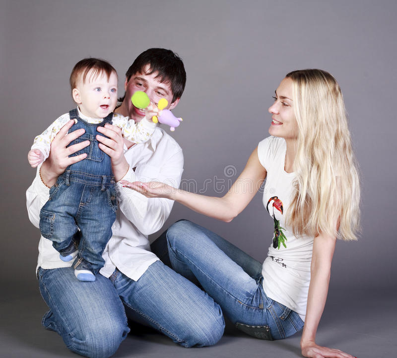 mother, father and little boy stock photography