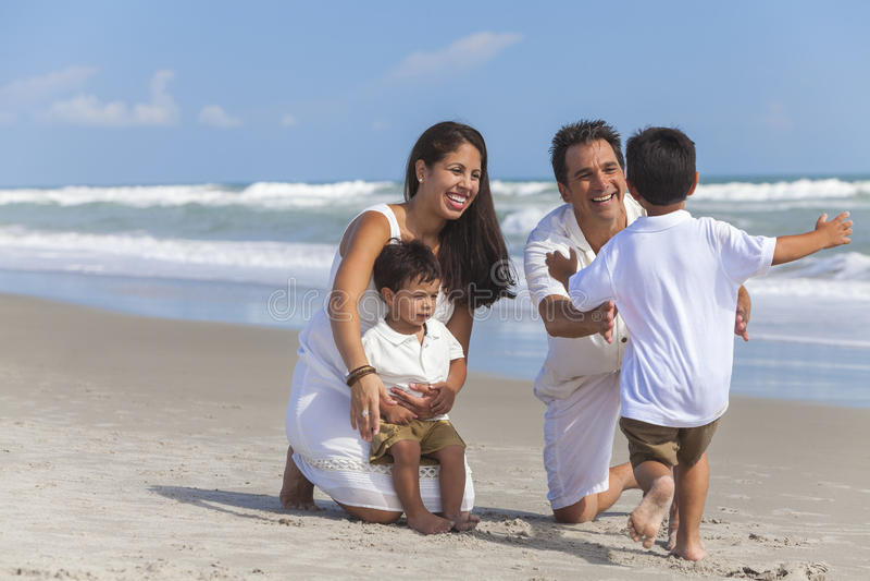 Mother Father Parents Boy Child Family Beach Fun royalty free stock photos