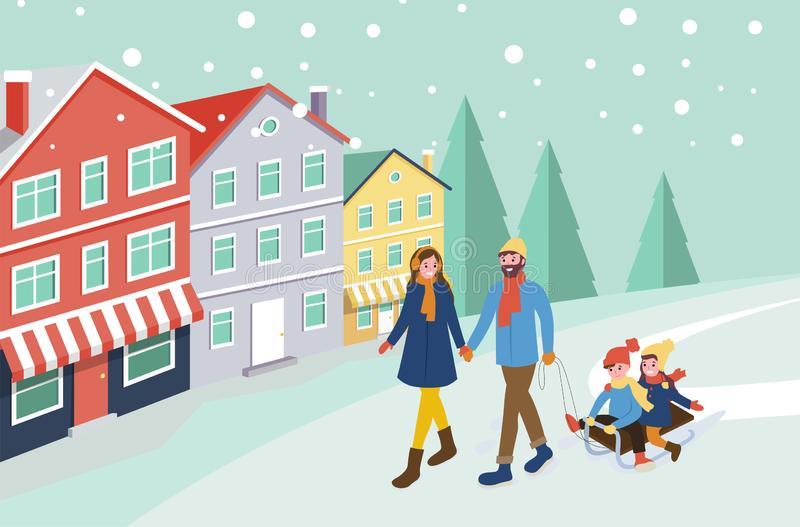 Mother and Father Pulling Sledges with Children stock illustration