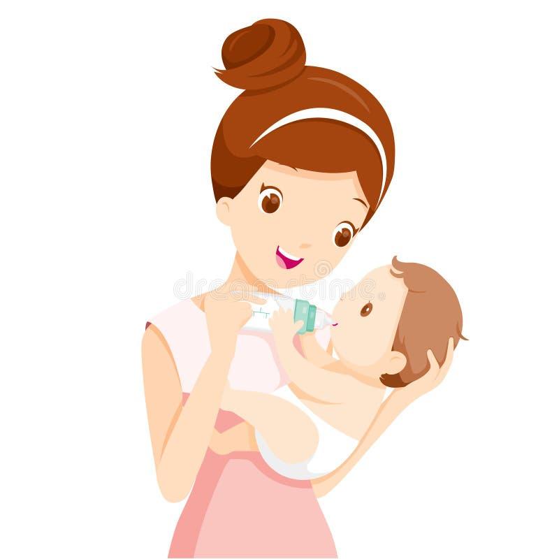 Mother Feeding Baby With Milk In Baby Bottle. Mother's day Mother Baby Bottle Feeding Sucking Infant Motherhood Innocence stock illustration