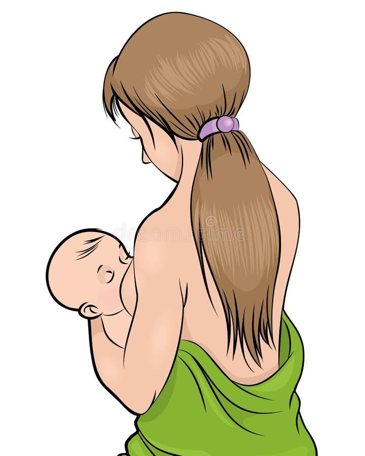 Mother feeding child royalty free illustration