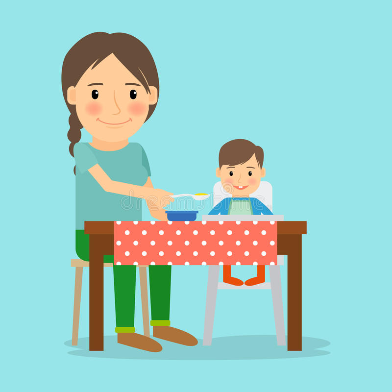 Mother Feeding Her Baby Boy. Happy family lifestyle and childcare. Vector illustration stock illustration