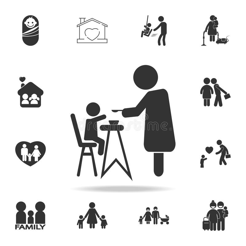 Mother feeding her baby child sitting on kids eating chair icon. Detailed set of human body part icons. Premium quality graphic de vector illustration