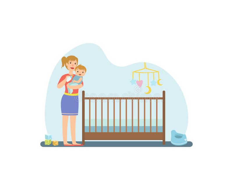 Mother Feeding Her Toddler Baby with Milk Bottle, Nursery Interior Vector Illustration vector illustration