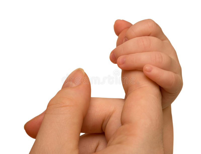 Mother finger and baby hand stock images