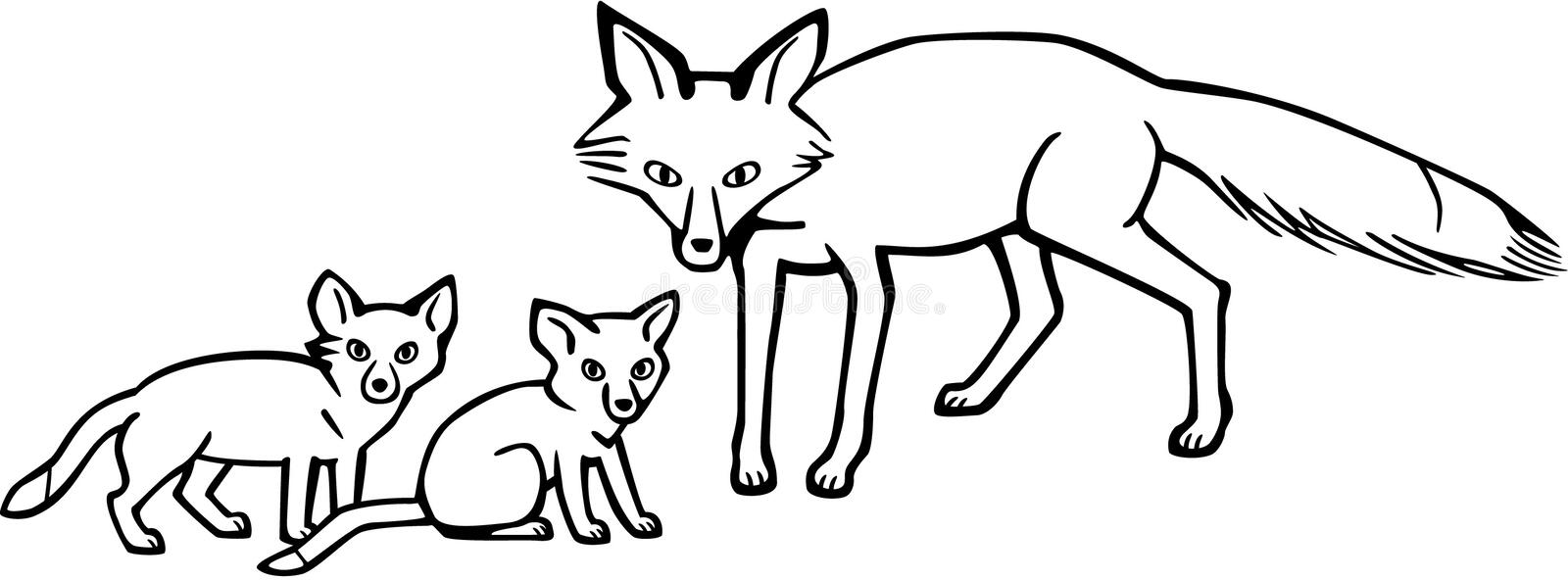 Mother Fox and Cubs. Line drawing a mother fox and her two cubs royalty free illustration